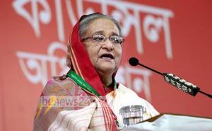 Sheikh Hasina at Awami League council. Photo: Yasin Kabir Joy