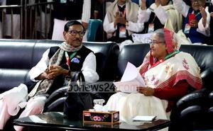 Obaidul Quader with Sheikh Hasina at the Awami League council. Photo: Saiful Islam Kallol