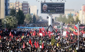 Iranian people attend a funeral procession and burial for Iranian Major-General Qassem Soleimani, head of the elite Quds Force, who was killed in an air strike at Baghdad airport, at his hometown in Kerman, Iran Jan 7, 2020. REUTERS
