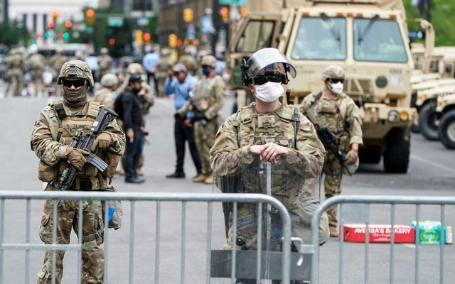 Members of the Pennsylvania National Guard maintain control of the area near City Hall after violent protests in response to the death of George Floyd in Philadelphia, Pennsylvania, US, June 2, 2020. Reuters